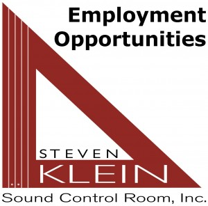 Employment Opportunity to join the team at Steven Klein's Sound Control Room, Inc.