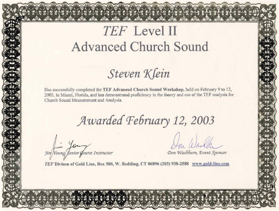 TEF Level II Advanced Church Sound