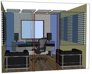 Acoustic Room Kit with fabric wrapped panel, pyramid foam, bass trap, for home studio, audio production.