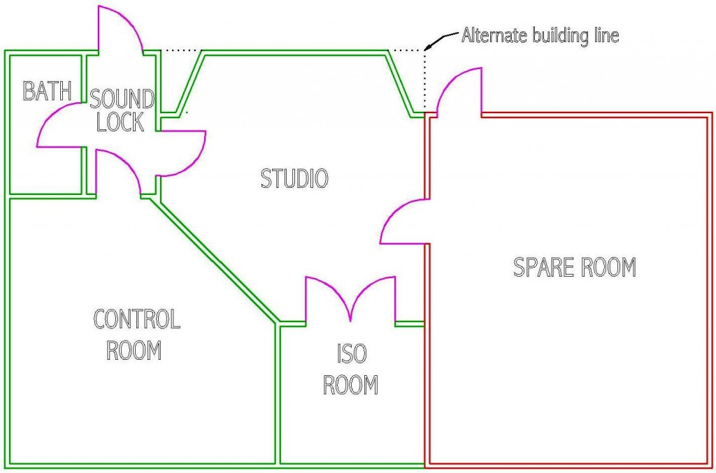 Design considerations for recording studios steven klein for Studio layout plan