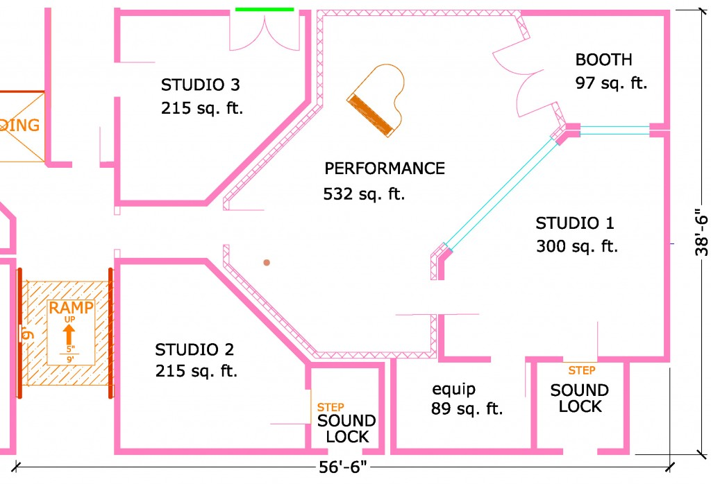 Floor plan for multiple room facility steven klein s for Home recording studio plans