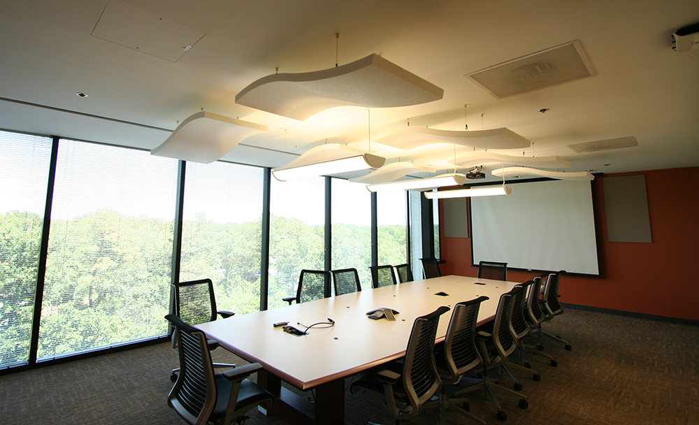 Whisper Wave Ceiling Cloud Treatment In Conference Room